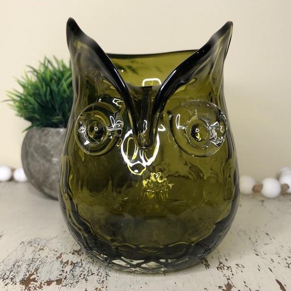 Glass Blown Owl Vase